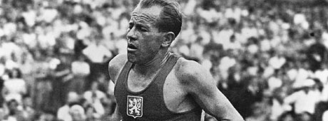London, 1948. Games of the XIV Olympiad. Men's Athletics. Emil ZATOPEK of Czechoslovakia: Gold medallist in the 10000m and silver medallist in the 5000m events.